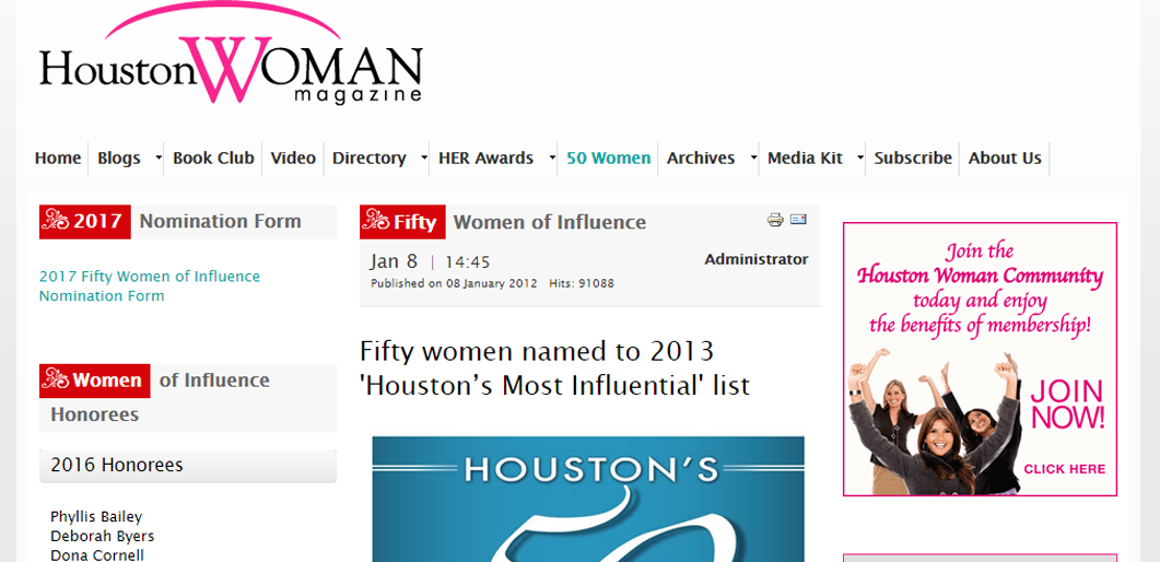 Fifty women named to 2013 'Houston's Most Influential' list