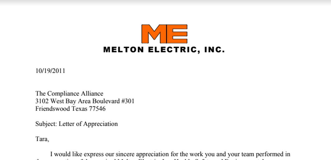 Melton Electric, Inc. Appreciation Letter