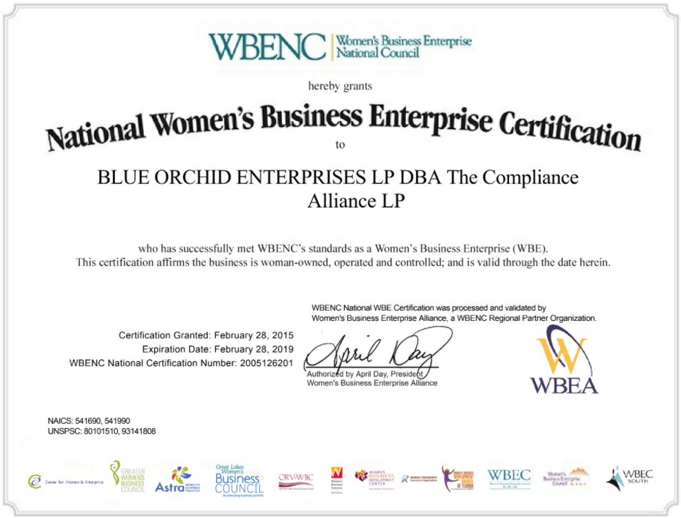 Wbe Certification The Compliance Alliance