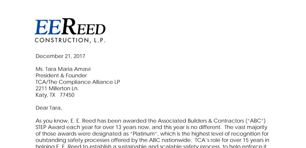 EE Reed Appreciation Letter